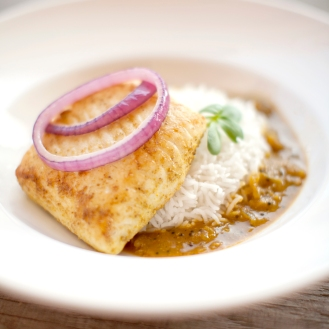 Pan Seared Ocean-Friendly Halibut with Bengali Mustard, Red Onion and Chilli Sauce